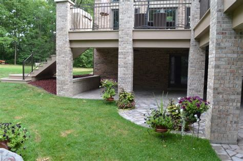 azek composite wood deck  brick columns  homer glen