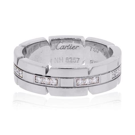 cartier  tank francaise diamond wedding band white gold