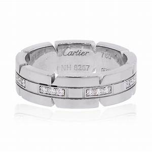 cartier 18k tank francaise diamond wedding band white gold With cartier diamond wedding rings