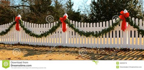 garland for decorating fences wreath on fence decorated for stock photo image of decorated 48200378