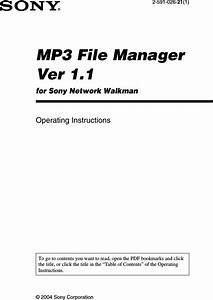 Sony Nw E95 Mp3filemanager 1 1 U User Manual Mp3 File