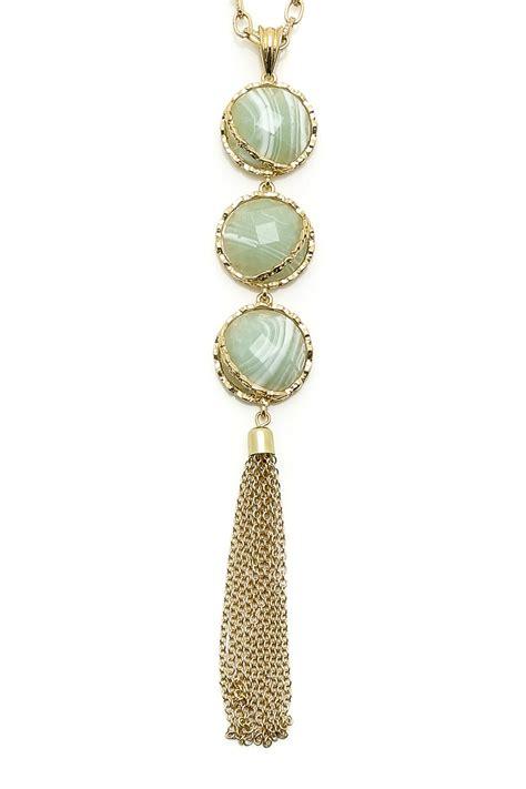 Three Stone Tassel Necklace — Shoptiques