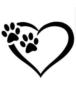 PAW HEART DOGS VINYL DECAL car bumper sticker laptop pet ...
