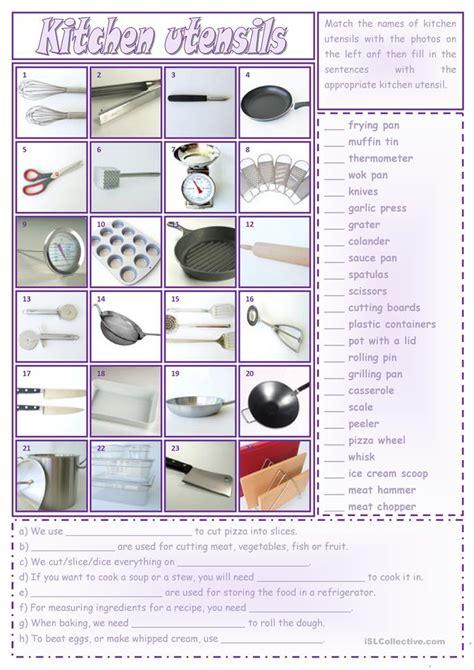 kitchen utensils worksheet free esl printable worksheets
