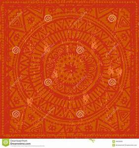 Hand Drawn Orange Background In Indian Style Stock Vector ...
