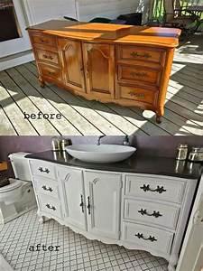 buffet transforme en meuble de salle de bain With transformer un meuble ancien