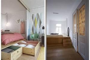 Separation Salon Chambre : idee separation chambre salon 14 lit podium rangement ~ Zukunftsfamilie.com Idées de Décoration