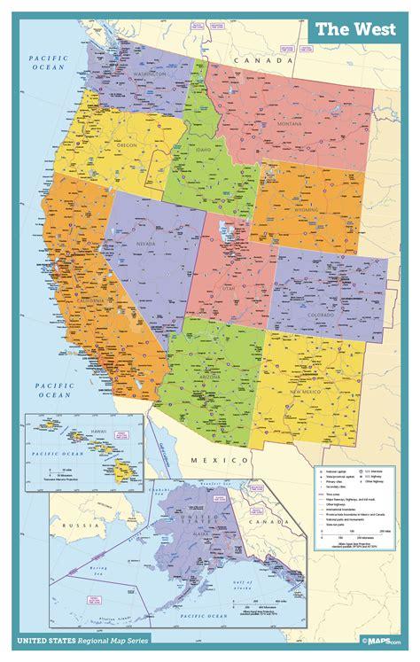west coast wall map maps com