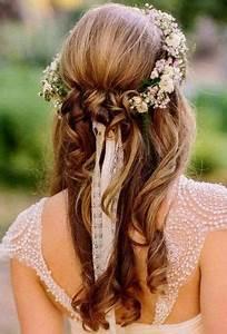 Couronne De Fleurs Cheveux Mariage : coiffure petite fille mariage avec couronne de fleurs ~ Farleysfitness.com Idées de Décoration