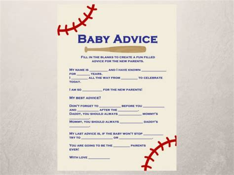 baseball baby shower baby advice    parents card
