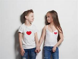 Beautiful Couple. Beauty Little Girl And Boy Holding Hands ...
