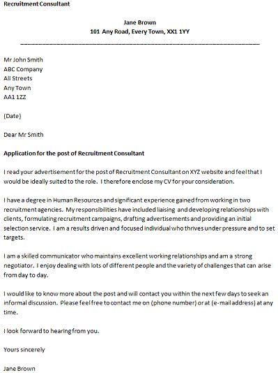 recruitment consultant covering letter cover letters
