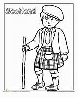 Coloring Pages Scottish Clothing Traditional Education Worksheets Worksheet Kilt Cultures Around Scotland Sheets Detailed Culture Different Children Multicultural Globe Colouring sketch template
