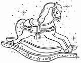 Rocking Coloring Embroidery Horse Patterns Colouring Printable Horses sketch template