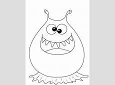 Kostenlose Malvorlage Halloween Schielendes Monster zum