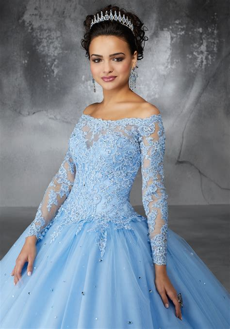 beaded lace appliques   tulle ballgown skirt style