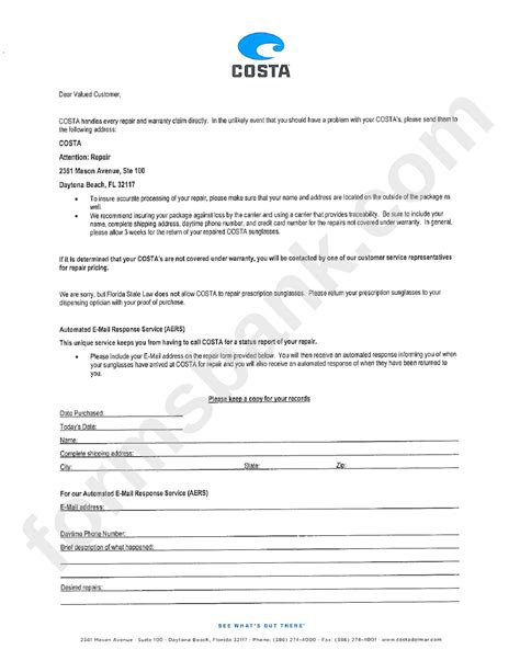 repair submission form costa printable