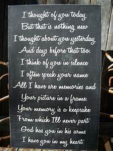MEMORY sign Wedding Memory sign I thought of you today