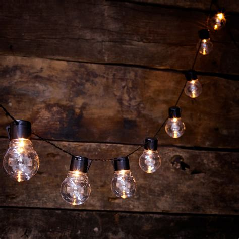 Solar Powered Outdoor Clear Bulb Retro Festoon Lights With