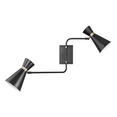 globe electric belmont 2 light matte black swing arm wall sconce 51266 the home depot