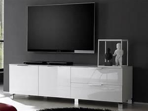 Petite Tv Ecran Plat : meuble tv grand modele sola blanc ~ Nature-et-papiers.com Idées de Décoration