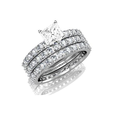Huge 3 Carat Trio Wedding Bridal Set on Closeout Sale Limited Time   JeenJewels