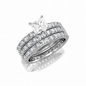 huge 3 carat trio wedding bridal set on closeout sale With diamond wedding ring sets on sale