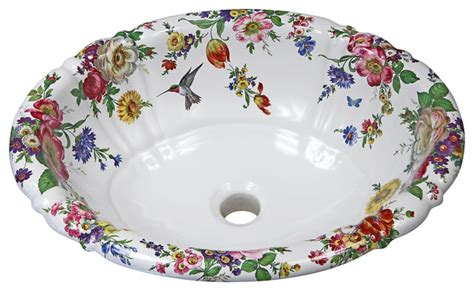 hand painted bathroom sinks shop houzz decorated porcelain company scented garden