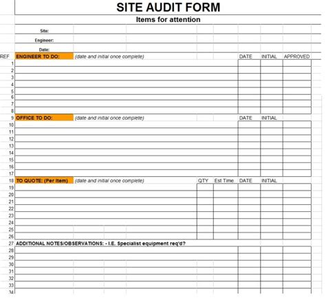 site audit report template   blank space
