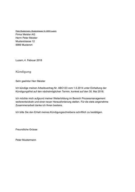 kuendigung vorlage muster arbeitsvertrag schweiz