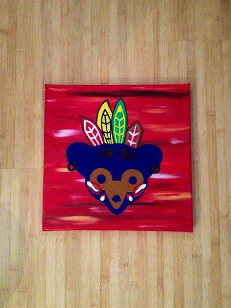 black cubby cubby hawk chicago diy canvas cubs black hawks my