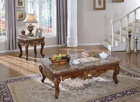 Coffee table sets are an easy way to create a matching look. Aragon Traditional Marble Top Coffee Table w/Carved Details in Cherry Finish