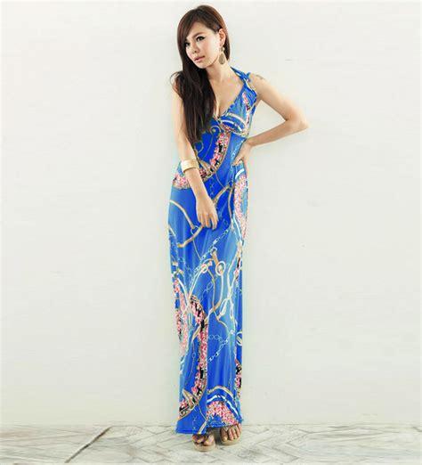 blue floral print halter boho maxi dress   casual