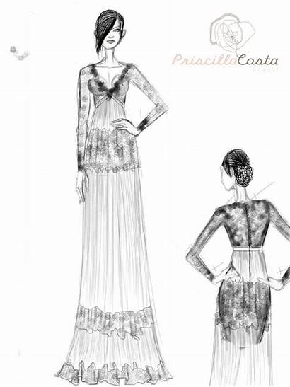 Lace Sketch Dresses Gowns Bridal Sleeves Earthy