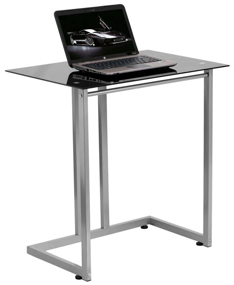 glass top computer desk black tempered glass top computer desk from renegade