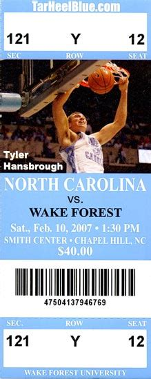 photo    unc wake forest ticket stub tar heel times