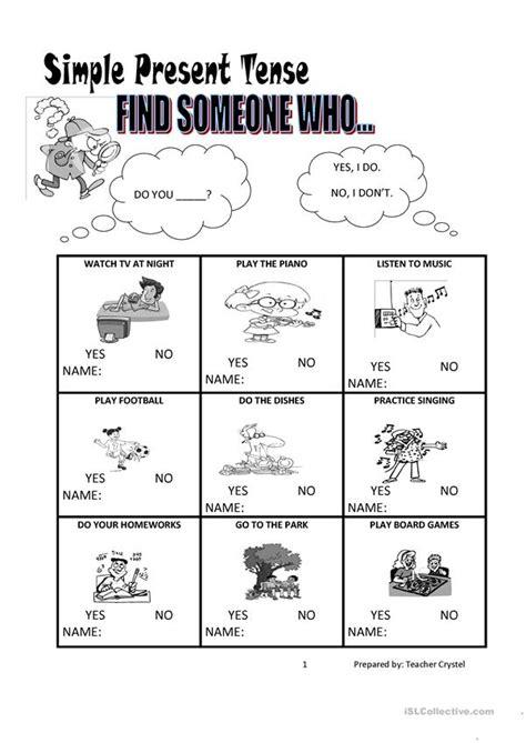 simple present tense worksheet worksheet  esl