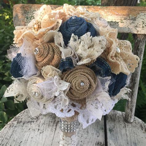 Denim Bouquet Denim Burlap And Lace Bridal Bouquet Denim