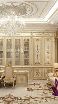 Royal classic office interior - luxury interior design ...