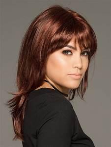 Human Hair Color Chart Medium Length Straight Wigs With Full Bang
