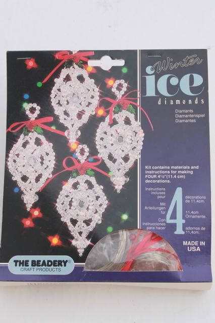 vintage bead ornament kit lot beadery winter ice kits   beaded christmas tree ornaments