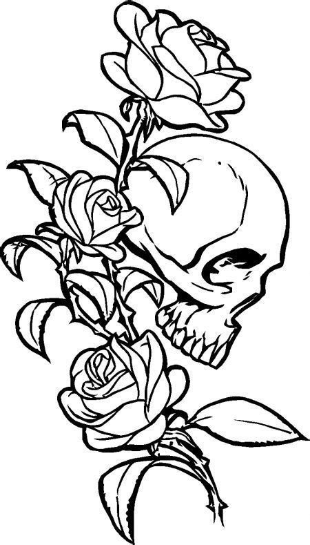skulls  roses coloring pages coloring home