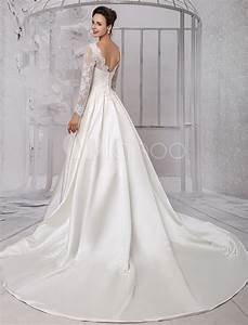 long sleeve lace wedding dress bridal gown with cathedral With milanoo wedding dresses