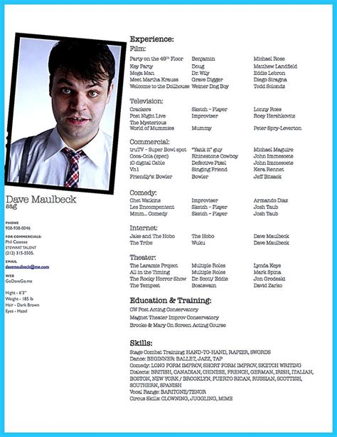 Actor Resumes by Actor Resume Template Gives You More Options On How To