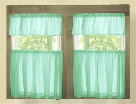 20 Inch Valance Curtains by Mint Green Solid Colored Kitchen Cafe Tier Curtains
