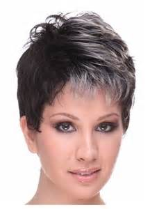 Short Black Hair with Grey Highlights