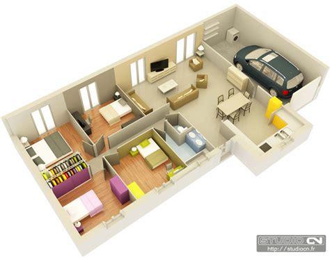 plan maison plain pied 100m2 3 chambres plan maison f4 3d