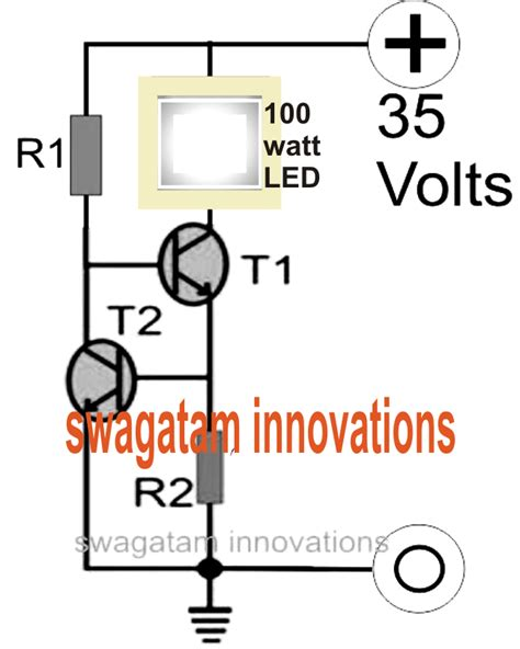 the explains a simple current controlled constant current 100 watt led flood light