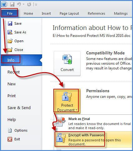How To Password Protect Ms Word 2010 Document