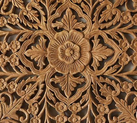Ornate Carved Wood Panel Wall Art Set Decor